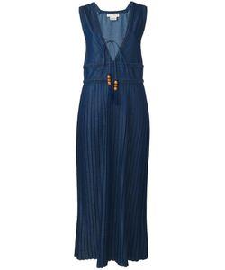Veronique Branquinho   V-Neck Pleated Dress 44 Cotton/Polyester