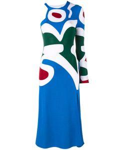 ESTEBAN CORTAZAR | Asymmetric Intarsia Knit Dress 40 Viscose/Polyamide/Spandex/Elastane