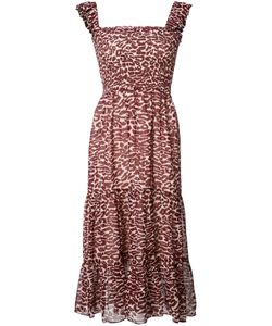 Piamita | Pleated Trim Leopard Print Dress Xs Polyester/Silk