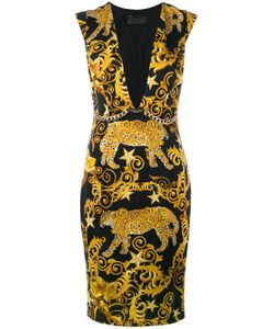 Philipp Plein | Baroque Plunge Neck Shift Dress