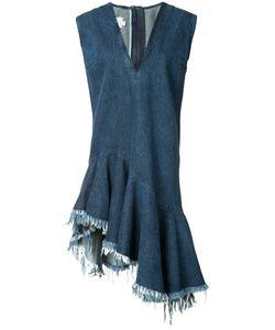 Marques Almeida | Marquesalmeida Stonewashed Denim V-Neck Dress Xs Cotton