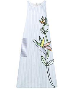Mira Mikati   Flower Embroide Striped Midi Dress 34