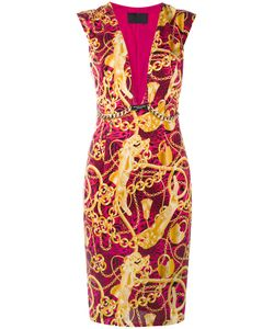 Philipp Plein | Chain Print Plunge Neck Shift Dress