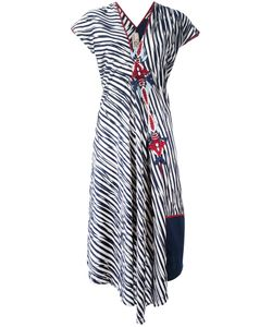 Antonio Marras | Striped Print Embroide Dress 42 Cotton/Polyester/Viscose