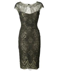 Monique Lhuillier   Кружевное Платье С Эффектом Металлик