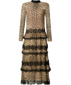 Red Valentino | Leopard Print Ruffled Dress 40 Silk
