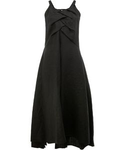 AGANOVICH | Draped Panel Midi Dress 36 Linen/Flax