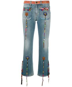 Roberto Cavalli | Beaded Fringes Cropped Jeans 42 Cotton/Spandex/Elastane