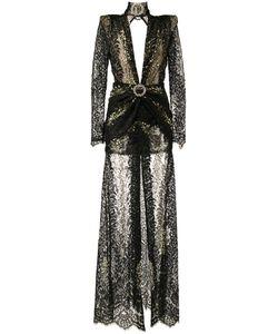 Alessandra Rich | Long-Sleeve Lace Gown 42 Viscose Fibre/Polyamide/Spandex/Elastane