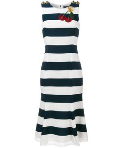 Dolce & Gabbana | Cherry Applique Stripe Dress 46