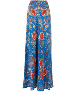 Roberto Cavalli | Embroide Maxi Skirt 42 Silk