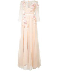 Marchesa Notte | Длинное Платье С Цветочной Вышивкой