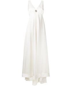 Brunello Cucinelli | Draped Empire Line Gown Medium Silk/Viscose/Acetate/Brass