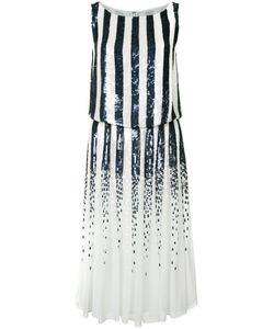 Carolina Herrera | Striped Sequinned Dress 6 Silk