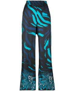Versus | Printed Wide Leg Trousers Size 36 Silk/Viscose/Polyamide/Spandex/Elastane