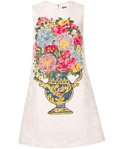 Dolce & Gabbana   Жаккардовое Платье С Цветочной Вышивкой