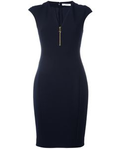 Versace Collection | V-Neck Fitted Dress 46 Polyester/Spandex/Elastane/Cotton
