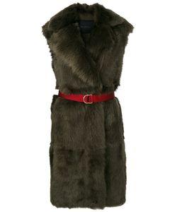 Blancha   Sleeveless Long Fur Coat