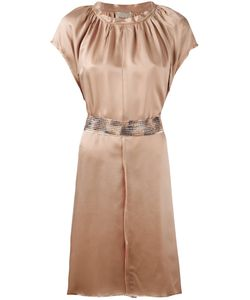 Nude | Pleated Trim Belted Dress 40 Neutrals Viscose