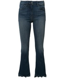 3X1   Frayed Cropped Bootcut Jeans 31 Cotton/Polyester/Spandex/Elastane