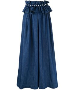 Huishan Zhang | Belted Denim Palazzo Pants 8 Cotton/Polyester
