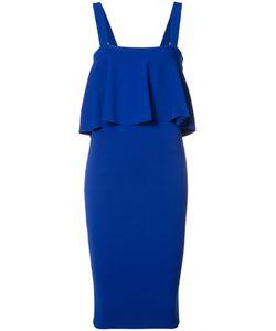 Milly | Ruffled Midi Dress Large Acetate/Viscose/Polyester/Spandex/Elastane