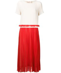 Erika Cavallini | Contrast Pleated Dress 42 Silk/Acetate