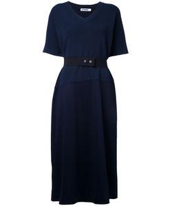 Jil Sander   Belted V-Neck Dress 40 Cotton/Polyamide