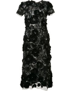 Marchesa | Flower Embellished Fla Dress 6 Silk