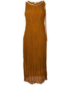 Nina Ricci | Plissé Pleated Frayed Edge Dress 40