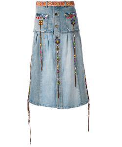 Roberto Cavalli | Embroidered Denim Skirt