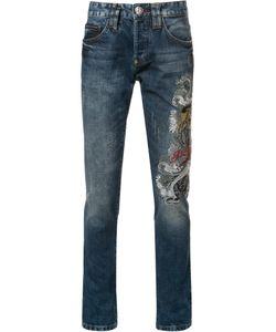 Philipp Plein | Embroide Slim-Fit Jeans 28 Cotton