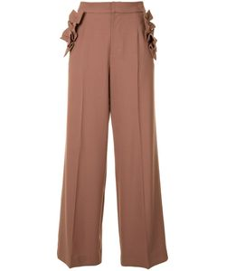 Muveil | Ruffled Detailing Fla Trousers 38 Polyester/Rayon/Wool/Polyurethane