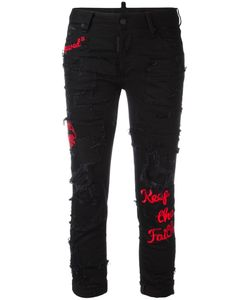 Dsquared2 | Glam Head Embroide Jeans 40 Cotton/Spandex/Elastane/Polyester