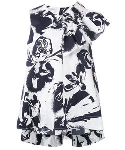Cedric Charlier | Cédric Charlier Abstract Print Ruffled Blouse Size 42 Cotton/Other