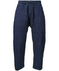 KAZUYUKI KUMAGAI | Cropped Drawstring Trousers 2 Cotton/Linen/Flax/Wool/Hemp