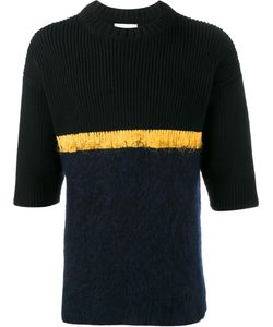HELEN LAWRENCE | Contrast Stripe Jumper Large Lambs Wool/Mohair/Wool/Polyamide