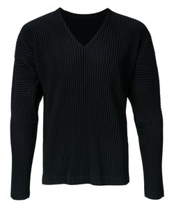 HOMME PLISSE ISSEY MIYAKE | Homme Plissé Issey Miyake Pleated Long Sleeve V-Neck T-Shirt