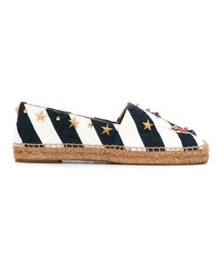 Dolce & Gabbana   Anchor Striped Espadrilles 35 Leather/Cotton/Raffia/Metal