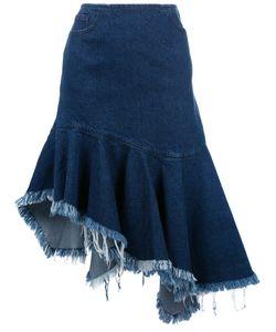 Marques Almeida | Marquesalmeida Frayed Trim Pleated Denim Skirt 8 Cotton