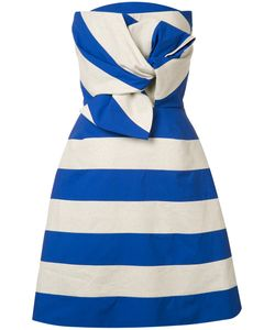 Delpozo | Striped Bow Dress 38 Cotton/Polyester/Linen/Flax