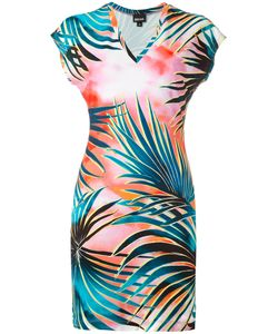 Just Cavalli | Leaves Print T-Shirt Dress 38 Viscose/Spandex/Elastane