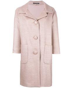 Luisa Cerano   Three-Quarters Sleeve Buttoned Coat 42 Cotton/Polyamide/Viscose/Polyester