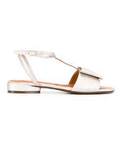 Chie Mihara | T-Strap Flat Sandals 38 Calf Leather/Leather/Rubber