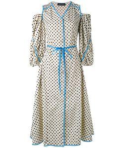 ANNA OCTOBER | Polka Dot Cold Shoulder Dress