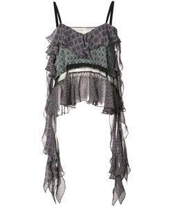 Cinq A Sept | Ruffled Top Xs Silk/Polyester/Acetate