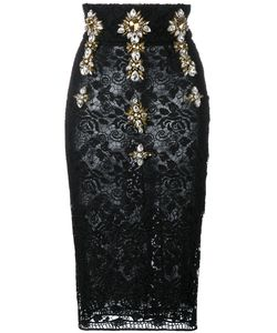 STEFANO DE LELLIS | Embellished High Waist Lace Pencil Skirt