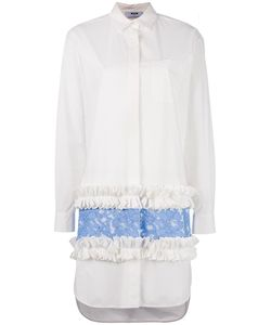 MSGM | Lace Ruffled Shirt Dress 42 Cotton/Spandex/Elastane/Polyurethane