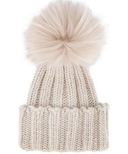 Inverni | Racoon Fur Pom Pom Beanie Cashmere/Racoon Fur
