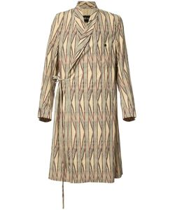 UMA WANG | Striped Wrap Coat Large Cotton